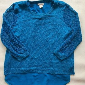 Teal Lucky Brand Double Layer Sweater